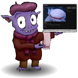 Image of a goblin holding a laptop